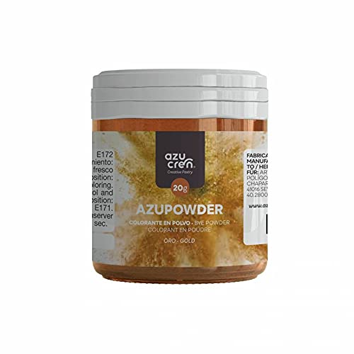 Azucren - Colorante en Polvo Alimenticio - Ideal para Repostería (Glasa, Cremas, Fondant...) - 20 GR (Oro)