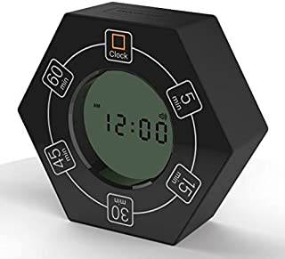 Hexagon Rotating Timer, 5, 15, 30, 45, 60 Minute Preset Countdown Timer (Black)