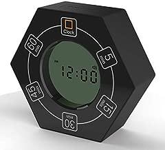 Hexagon Rotating Timer, 5, 15, 30, 45, 60 Minute Preset Countdown Timer (Black)
