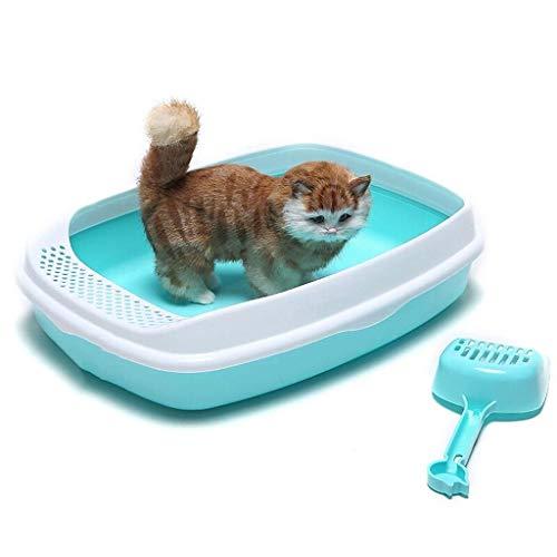 ZXL kattenbak, toiletbed, kattenbak, hondenbak, toiletpot, anti-plash toiletpot, voor huisdieren, voor binnenshuis, kunststof, zandbak, kleur blauw, afmeting: 18,11 x 13,38 x 4,33 inch