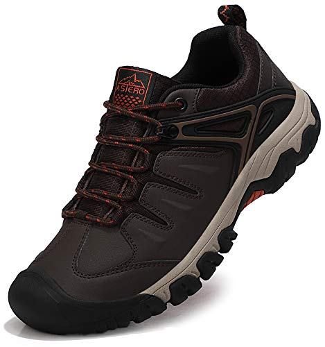 ASTERO Zapatillas Senderismo Hombre Zapatos Trekking Antideslizantes Bajos Botas de Montaña AL Aire Libre Sneakers Transpirable Tamaño 41-46(MARRÓN Oscuro Numeric_43