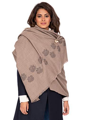 likemary Damen Schal Schultertuch aus 100% Merino Wolle - Poncho Stola XXL Tuch & Umschlagtuch - ideales Geschenk für Frauen - Pfotenmotiv mokka