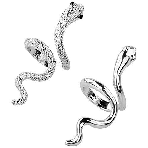 Fransande Anelli Serpente 3D, Aperto Semplice Regolabile Personalizzato per Pollice Medio con Animale Halloween (Colore Argento)