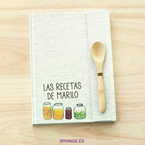 Sphinge - Recetario en blanco personalizado | Libro de recetas de cocina para escribir tapa dura A5 | Índice y cuchara de bambú | Español català euskera galego inglés | Encuadernación artesanal