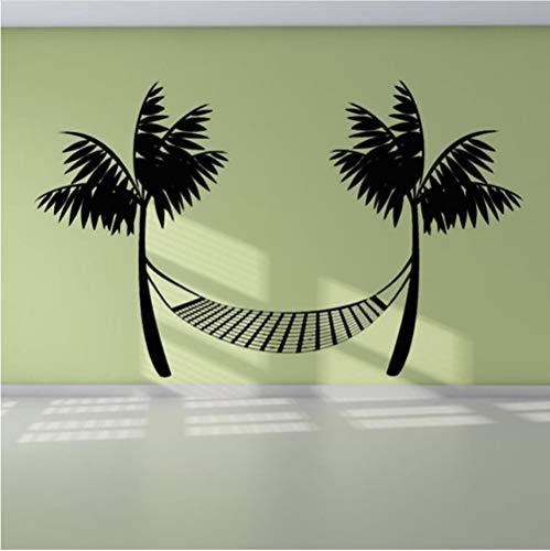 Kreative wand Kreative Wandtattoo Vinyl Durable Schwarz Gedruckt Strand Hängematte Wandaufkleber Palmen Wohnkultur