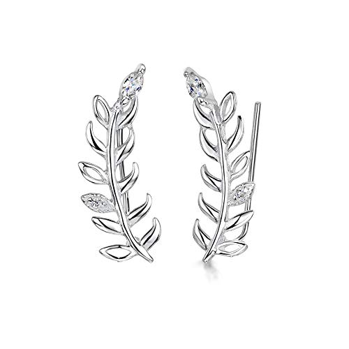 Amberta Damen Kletterer Ohrringe aus 925 Sterling Silber: Ohrklemme mit Blatt und Zirkon