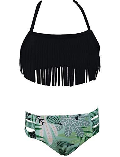 Echinodon Mädchen Bikini Set Neckholder Badeanzug mit Fransen Kinder Zweiteiler Bademode Schwimmanzug Schwarz 116