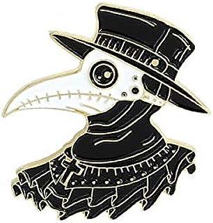 WEHONG Plague Doctor Spille Smaltate Becco Spille per Viso Distintivi Borse Abbigliamento Spille da Bavero Fibbia Regalo d...