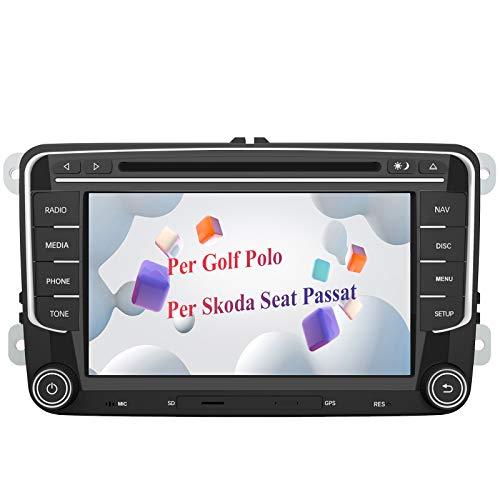AWESAFE Autoradio 2 Din per Golf 5 6 Polo Passat Skoda Seat Tiguan, 7 Pollici con GPS Navigatore per Volkswagen Car Radio Supporta la funzione Comandi al volante Bluetooth Vivavoce CD DVD SD USB RDS