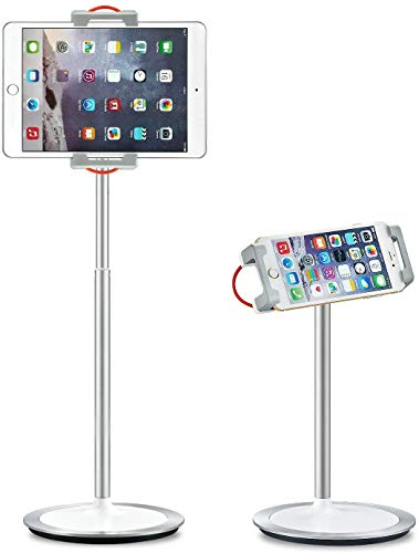 SAIJIタブレットスタンド スマホスタンド ipad用スタンド360°回転 角度調整可能 在宅勤務 オンライ授業 4.7-12.9インチに適用 高質感金属製台座 デスクワーク 寝室/キッチン/浴室//オフィス/旅行に適用iPad/Kindle/NintendoSwitch/Android/iPhone/Huawei等多機種対応 (シルバー)