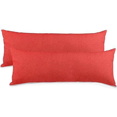 aqua-textil Classic Line Kissenbezug 2er-Set 40 x 145 cm Kirsch rot Baumwolle Seitenschläferkissen Bezug Reißverschluss