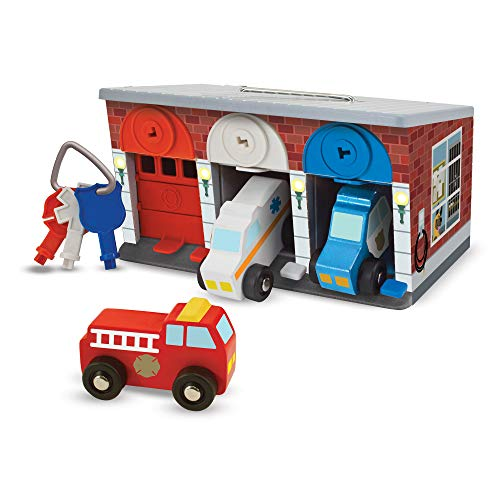 Image of Melissa & Doug Keys & Cars Wooden Rescue Vehicle & Garage Toy (Emergency Vehicles, Color-Coded Keys, Great Gift for Girls and Boys - Best for 3, 4, 5 Year Olds and Up)