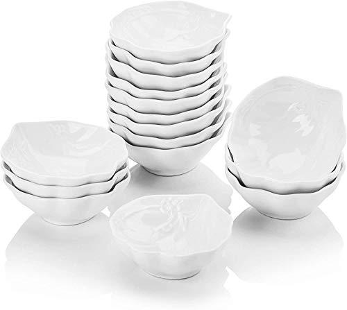 MALACASA, Serie Ramekin.Dish, 16 Pezzi di Ciotoline per aperitivo/per antipasto/per i Dolci/per Salse/per merenda, in Ceramica Bianca, Dimensione: 3,5/9 * 8 * 3 cm