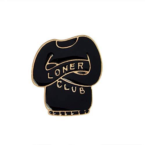 JWGD Introverti - Broche de metal para mujer, diseño de gato, color negro y blanco