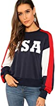 SweatyRocks Women's USA Print Color Block Shirt Top Long Sleeve Casual Pullovers Sweatshirt Multi M