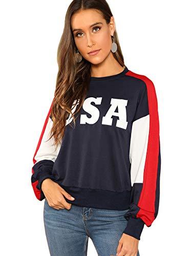 SweatyRocks Damen Sweatshirt mit USA-Flagge, Bedruckt, langärmlig, Kapuzenpullover, Crop Top für Mädchen - Mehrfarbig - X-Klein