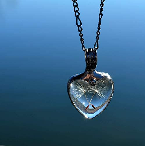 Dandelion Seed Heart Necklace for Women Handmade Quality Glass not Resin Necklaces Gifts from product image