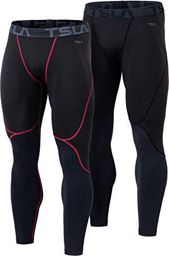 TSLA Men's Thermal Wintergear Compression Baselayer Pants Leggings Tights, Wintergear 2pack(yup73) - Black/Black & Red, Large