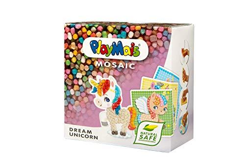 PlayMais Mosaic Dream Unicorn Kreativ-Set zum Basteln für Mädchen ab 5 Jahren | Über 2.300 6 Mosaik Klebebilder mit Einhörnern | Fördert Kreativität & Feinmotorik | Natürliches Spielzeug