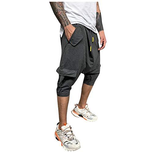 Hombre Pantalones Harem - Pantalones Cortos 3/4 Cómoda Cintura Elástica Pantalones con Cintura Moda Color Sólido Sueltas Casuales Yoga Hippies Pantalon Bombachos Yvelands(Gris,M)