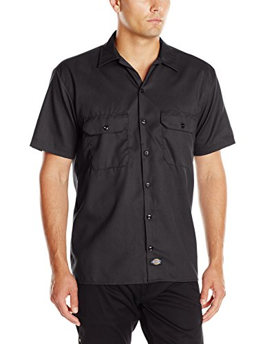 Dickies Men's Short-Sleeve Work Shirt, Black, Large