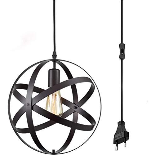 ZZT Lámpara Colgante del Globo de la Vendimia, Negro Alrededor de la Jaula de Metal Colgando lyeard con Cable de 4,5 m, lámpara de péndulo Industrial, lámpara de Colgante E27 Ø30cm