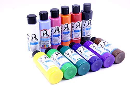 Monalisa Acrylfarben Set mit 12 Farben (Blue Sky) 70 ml. zum Malen auf Holz, Stein und Leinwand, für Kinder, Erwachsene, Hobbymaler und Studenten