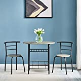 JTMTOM Dining Table and 2 Chairs Set 2 Person Compact Chairs for Small Spaces Office Lounge Dining Kitchen,3 PC black
