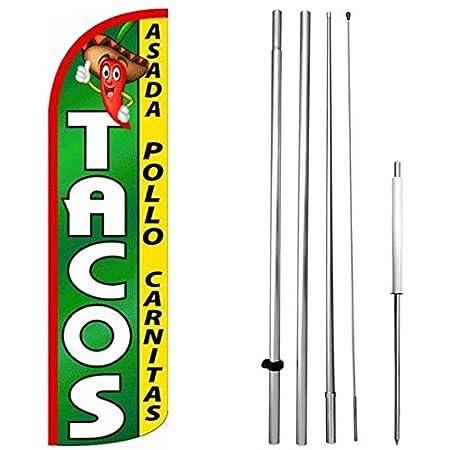 1 one TACOS ASADA 15 WINDLESS SWOOPER FLAG KIT