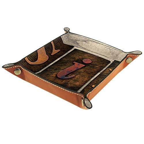 HANDIYA Herrendiener Tablett für Aufbewahrung, PU-Leder Schmuck Nachttisch Snap Schnalle Design Würfelhalter Organizer Uhr Münzen Schlüssel Schmuck Valet Tablett, Sin 2, 4.5x4.5x1.18 in