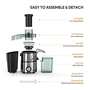 Juicers, Bagotte Centrifugal Juicer Compact Fruits and Vegetables Juice Extractor, Dual Speed Wide Mouth Juicer Machines… |