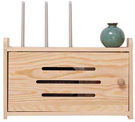 DLYGH kleine kist van laden hout Router 8 kubus Organizer gratis ponsen massief hout draadloze Router Opbergdoos muur Mount Controleer plank afmetingen voor aankoop