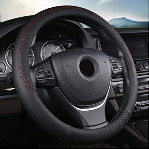 Volant de voiture 38cm en cuir PU Couverture cousue à la main pour la plupart des voitures Styling (Couleur : NOIR)