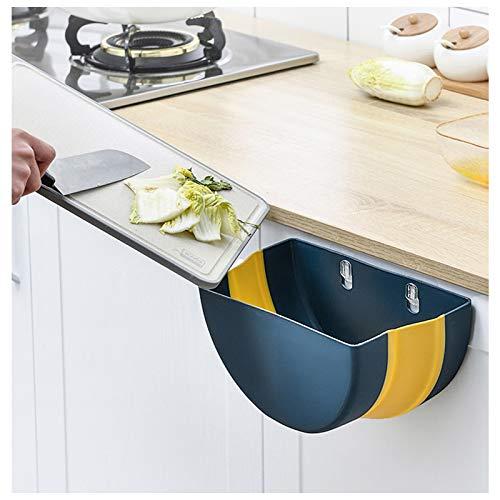Andiker Poubelle de cuisine à suspendre avec anneau supérieur pour fixer le sac à ordures, compacteur de déchets intelligent pour porte de placard de cuisine, salle de bain, bureau (bleu + jaune)