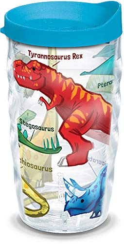Tervis 1124625 Dinosaurs Insulated Tumbler with Wrap and Turquoise Lid, 10 oz, Clear
