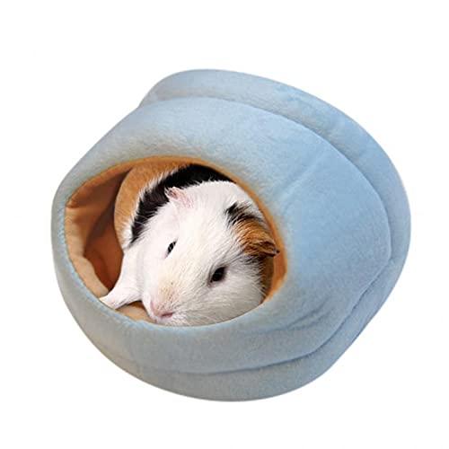 Baodaner Linda cama de hámster de conejillo de indias, cálida casa de animales para mascotas, ropa de cama cómoda jaula de nido, hamaca de felpa para dormir (14,5 x 15 x 10 cm), color azul