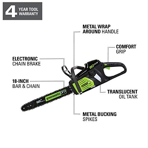 Greenworks Pro 18-Inch 80V Cordless Chainsaw, 2Ah Battery and Charger Included GCS80420