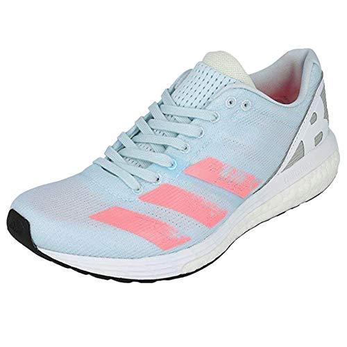 adidas Women's Adizero Boston 8 W Competition Running Shoes, Sky Tint/Light Flash Red/FTWR White, 4.5 UK