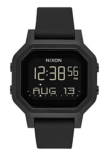 NIXON Siren A1311 - All Black - 100m Water Resistant Women's Digital Sport Watch (38mm Watch Face, 18mm-16mm Pu/Rubber/Silicone Band) - Made with #Tide Recycled Ocean Plastics