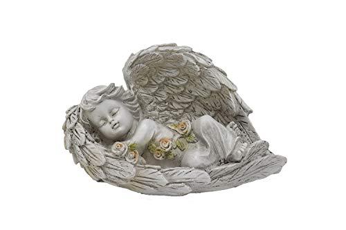 Benera Schlafender Engel mit Flügeln Figur 19 cm Breit aus Polyresin Antikes Design