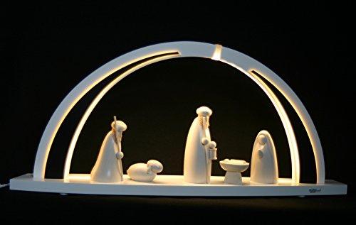 LED Schwibbogen modern Christi Geburt White line groß 57cm Erzgebirge