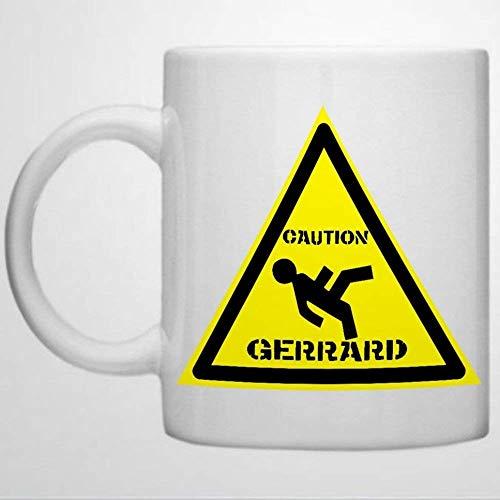 Gerrard Slip Hazard Gerrard Warning Sign Football Coffee Mug 11 oz Ceramic coffee or Tea cup Funny Mug Best present for Men Women Birthday Festival Christmas