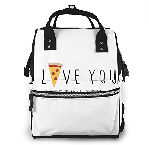 I Love You More Than Pizza Diaper Bag Multi-Function Waterproof Travel Backpack Nappy Bags for Baby Care Large Capacity Stylish and Durable