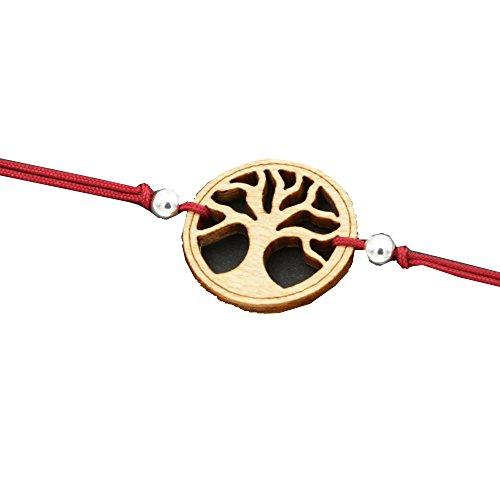 Holz Armband Baum des Lebens aus Ahornholz. Armband ist größenverstellbar in rot. Feinste Handarbeit aus Österreich.
