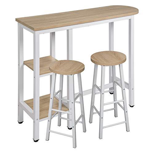 WOLTU Set Mesa de Bar y 2 uds. Taburete de Bar Muebles Cocina Silla de Comedor Mesa de Bar para Salon Metal+MDF 130x40x100cm Roble Claro BT31hei+BH130hei-2