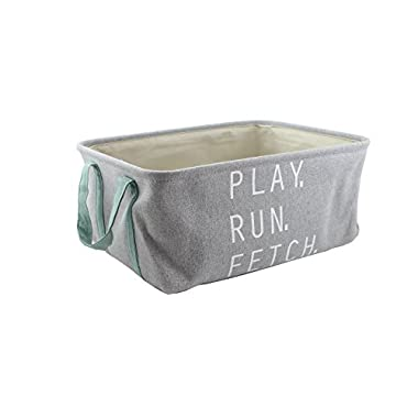 "Winifred & Lily Pet Toy and Accessory Storage Bin, Organizer Storage Basket for Pet Toys, Blankets, Leashes and Food in embroidered ""Play, Run, Fetch"", Grey"