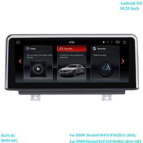XISEDO RAM 4G ROM 64G Autoradio 10,25 inch Android 9.0 scherm Moniceiver met GPS Navi voor BMW 3-serie F30/F31/F34 (2013-2016), BMW 4-serie F32/F33/F36 (2013-2016) NBT-systeem