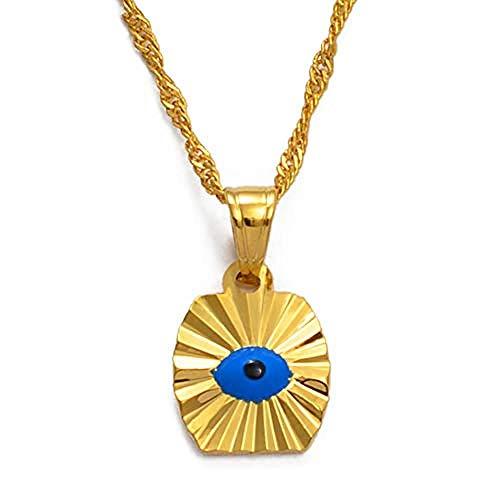 ZGYFJCH Co.,ltd Collar Pequeño Mini Ojo Azul Color Dorado Evil of Eye Collares Pendientes Cadena Niños Niñas Joyería árabe para Mujeres del Medio Oriente