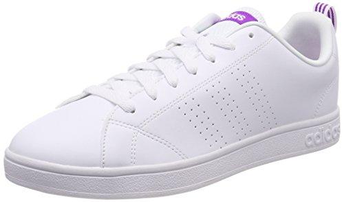 adidas Vs Advantage Cl W, Scarpe da Ginnastica Basse Donna, Bianco (Footwear White/Footwear White/Shock Purple), 36 2/3 EU
