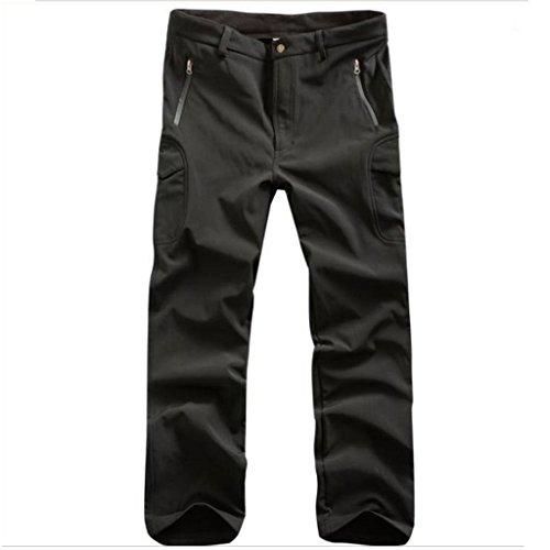 Lorata Pantalones de Soft Shell para Hombres Impermeable A Prueba de Viento con Fleece para Ciclismo Motociclismo Senderismo Deporte al Aire Libre Negro XXXL